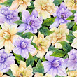 Beautiful gardenia flowers with leaves in seamless floral pattern. Pastel colored botanical background. Watercolor painting. Hand drawn and painted illustration.