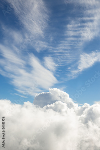 Fluffy white clouds, a view from airplane window - 261143976