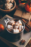 Rustic mug of hot chocolate with marshmallows