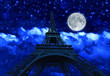 night sky with clouds and big full moon at night with backlit Eiffel Tower. Paris in France.