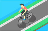 isometric illustration flat design of cycling on the road, during the morning, vector illustration - Vector