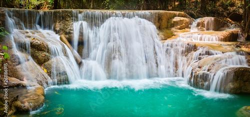 Beautiful waterfall Huai Mae Khamin, Thailand. Panorama - 261186915