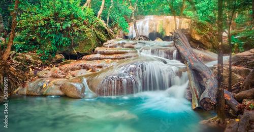 Beautiful waterfall at Erawan national park, Thailand. Panorama - 261186951