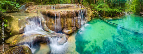 Beautiful waterfall at Erawan national park, Thailand. Panorama - 261186988