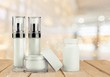 Set of cosmetic products in white containers isolated - 261187543