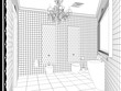 restroom, contour visualization, 3D illustration, sketch, outline