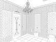 restroom, contour visualization, 3D illustration, sketch, outline