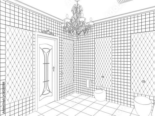 restroom, contour visualization, 3D illustration, sketch, outline - 261205184