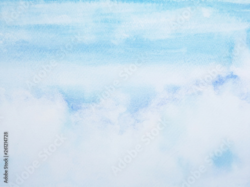 watercolor painting hand drawn on paper summer blue sky and white clouds. © atichat