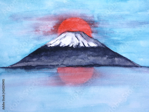 watercolor landscape japanese mountain fuji and red sun in the blue sky. © atichat
