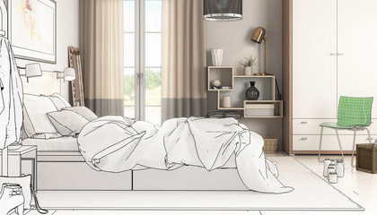 Modern Bedroom Arrangement (drawing) - 3d visualization