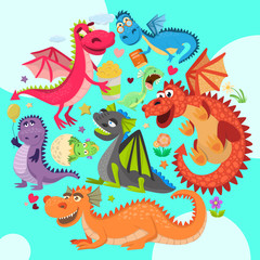 Baby dragons round pattern vector illustration. Cartoon funny dragons with wings. Fairy dinosaurs with pop corn, baloon, flower, book. Character hatching from egg. Magical dinos. © Vectorwonderland