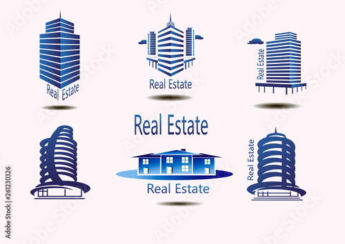 Vector icons for real estate construction.Vector icons of architecture, urban and suburban homes - 261230326