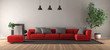 Modern living room with red sofa - 261230506