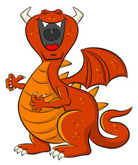 loud laughing cartoon dragon © antimartina