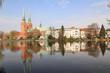 canvas print picture - Romantisches Lübeck; Mühlenteich mit Dom