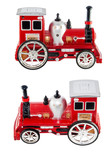 Old toy locomotive on a white background side view and top view