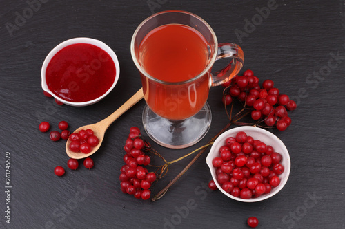 viburnum with juice, jam, tea on black background  © Iryna Usenko