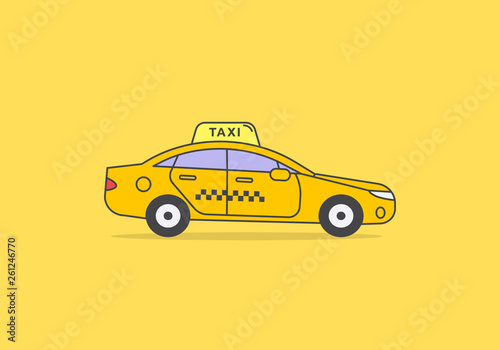 Yellow flat outline icon of taxicab. Sedan car with light taxi display - 261246770