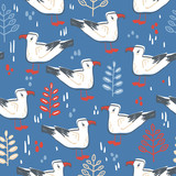 Vector seamless pattern  with walking gull. Bird and leaves, natural colors.