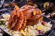 Quadro Crispy golden roast pheasant with bacon and orange