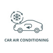 Air conditioning, car service line icon, vector. Air conditioning, car service outline sign, concept symbol, illustration