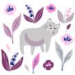 vector funny cat flower pattern childish cute illustration - 261270537