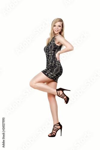 canvas print picture Fashionshooting im schwarzweissgemustertem  Minikleid