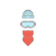 Snowboard goggles, beanie and facemask. Vector icon set of snowboarding gear