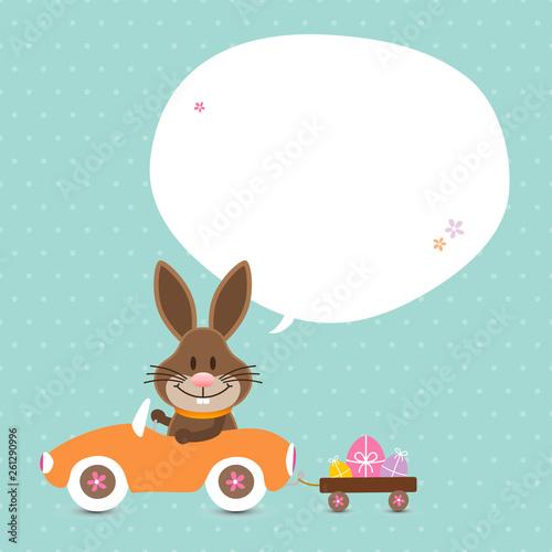 Osterhase Auto Sprechblase Punkte Türkis - 261290996