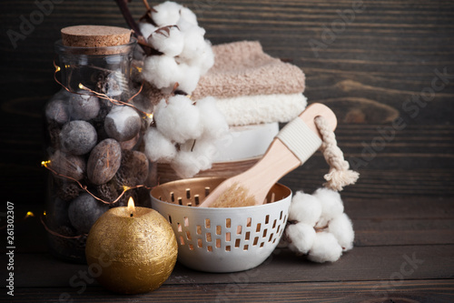 canvas print picture Spa products with golden candle and cotton