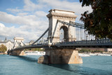 BUDAPEST, HUNGARY - SEPTEMBER 22, 2017: The Széchenyi Chain Bridge is a suspension bridge that spans the River Danube between Buda and Pest, the western and eastern sides of Budapest.