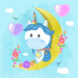 cute unicorn read a book on the moon. Can be used for baby t-shirt print, fashion print design, kids wear, baby shower celebration greeting and invitation card. - Vector - 261309952