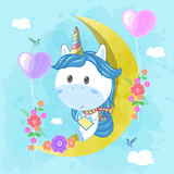 cute unicorn read a book on the moon. Can be used for baby t-shirt print, fashion print design, kids wear, baby shower celebration greeting and invitation card. - Vector