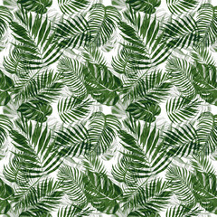 Watercolor tropical plants seamless pattern. Hand painted green foliage on white background. Beautiful botanical print with exotic leaves for wallpapers, textile, cards, banners, invitations