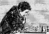 Chess player at the chessboard. Chessplayer thinks about the move. Chess pieces on checkerboard. Vintage engraving style. Monochrome hand drawn illustration. Black drawing. Vector.