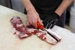 Macellaio taglio carne