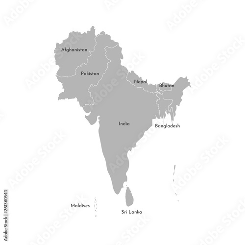 Vector illustration map of Asian countries. South region. States ...