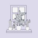 house plant in shelf with window scene