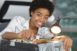 female electronic engineer repairing pc