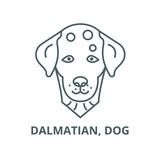 Dalmatian, dog line icon, vector. Dalmatian, dog outline sign, concept symbol, illustration