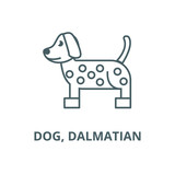 Dog, dalmatian line icon, vector. Dog, dalmatian outline sign, concept symbol, illustration