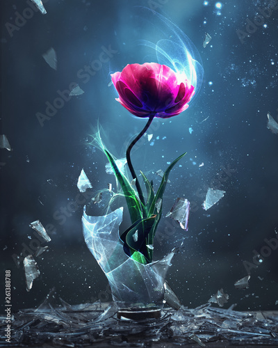 Tulip bursting from light bulb