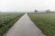 canvas print picture - Feldweg in nebeliger Landschaft