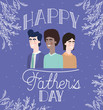 happy fathers day card with dads and leafs plant