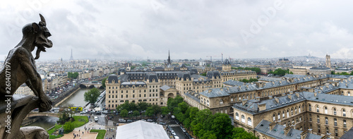 View of Paris from the Notre-Dame de Paris Tower - 261407197