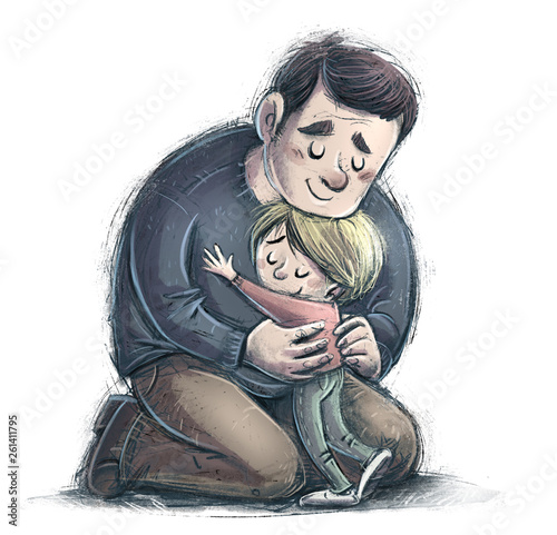 Leinwandbild Motiv padre y hijo abrazandose