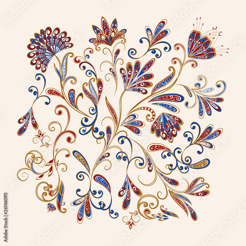Abstract vintage pattern with decorative flowers, leaves and Paisley pattern in Oriental style. - 261460911