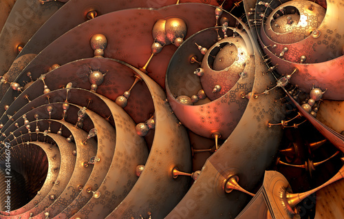 Abstract background 3D, fantastic structures and shapes, fictional sci fi background.