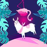Vector illustration with animal Alpaca and Flamingo